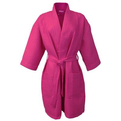 Thigh Length Waffle Kimono Bathrobe Color: Fuchsia, Size: Extra Extra Large