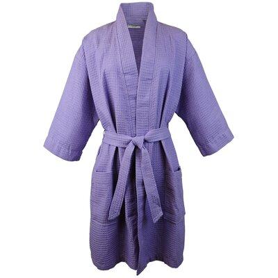 Thigh Length Waffle Kimono Bathrobe Color: Lavender, Size: Medium