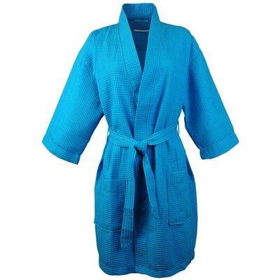 Thigh Length Waffle Kimono Bathrobe Color: Turquoise, Size: Medium