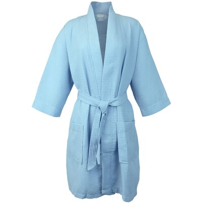 Thigh Length Waffle Kimono Bathrobe Color: Light Blue, Size: Extra Extra Large