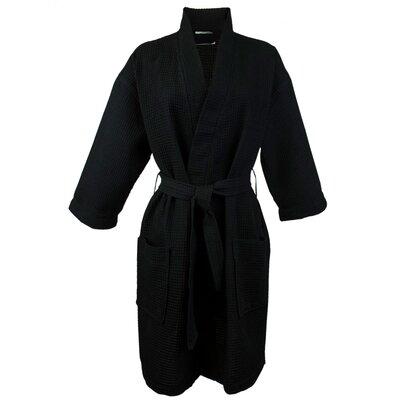 Thigh Length Waffle Kimono Bathrobe Color: Black, Size: Extra Extra Large
