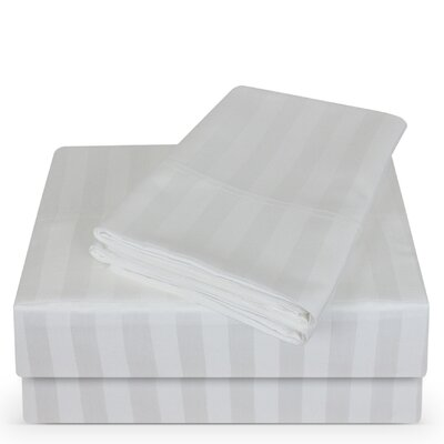 Luxury Hotel 100% Cotton Striped Sheet Set Color: White, Size: King
