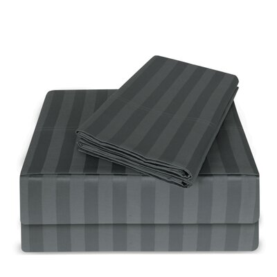 Luxury Hotel 100% Cotton Striped Sheet Set Color: Gray, Size: Queen