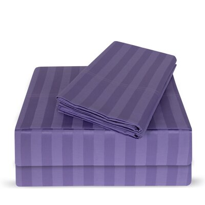Luxury Hotel 100% Cotton Striped Sheet Set Color: Violet Tulip, Size: King