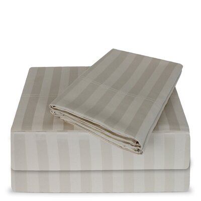 Luxury Hotel 100% Cotton Striped Sheet Set Color: Parchment, Size: King
