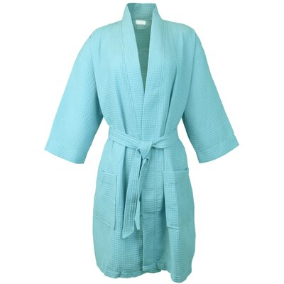 Thigh Length Waffle Kimono Bathrobe Color: Light Turquoise, Size: One Size