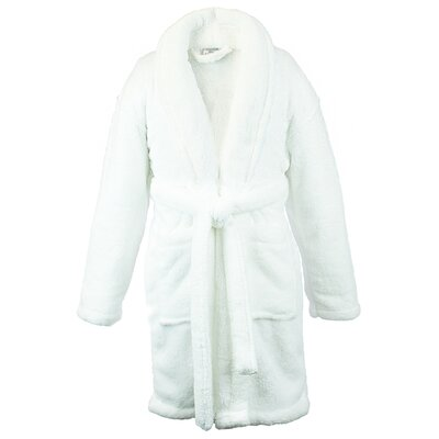 Microfiber Fleece Shawl Bathrobe Color: White, Size: Small
