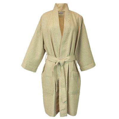 Thigh Length Waffle Kimono Bathrobe Color: Taupe, Size: One Size