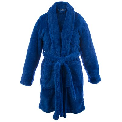 Microfiber Fleece Shawl Bathrobe Color: Royal Blue, Size: Large