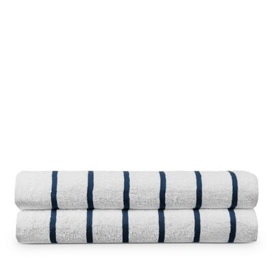 Worchester 100% Pure Cotton Pool Striped Beach Towel Color: Navy Blue