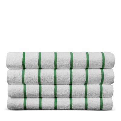 Wellston Turkish Natural Cotton Pool Striped Beach Towel Color: Kelly Green