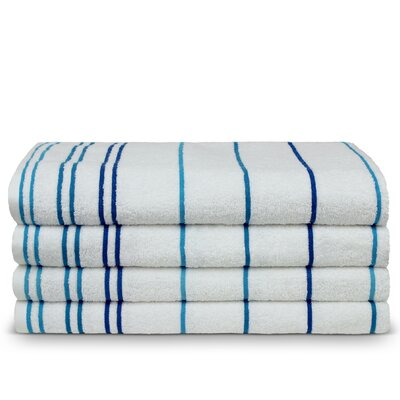 Wellston Turkish Cotton Pool Striped Beach Towel Color: Blue