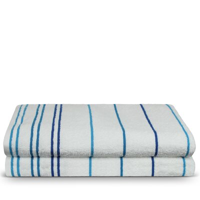 Springhill 100% Pure Cotton Pool Striped Beach Towel Color: Blue