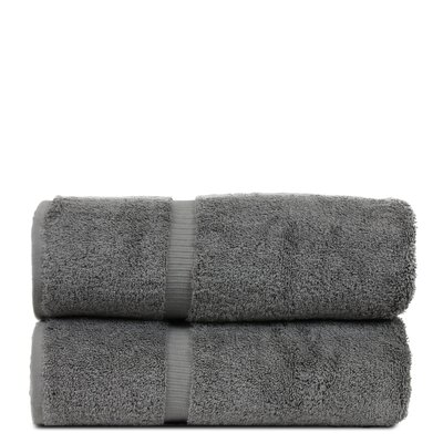 Wellston Turkish Cotton Dobby Border Bath Towel Color: Gray