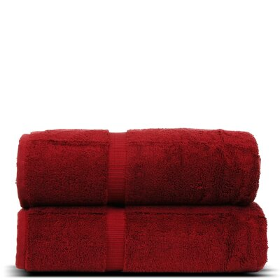 Wellston Turkish Cotton Dobby Border Bath Towel Color: Cranberry