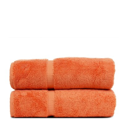 Wellston Turkish Cotton Dobby Border Bath Towel Color: Coral