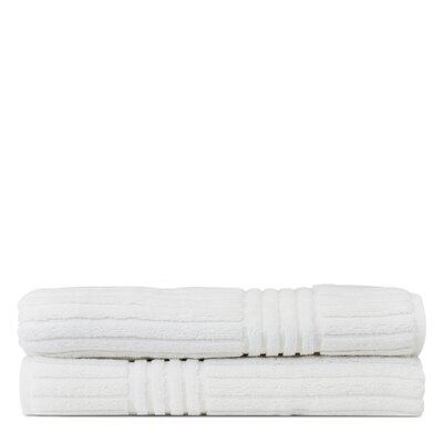 Wellston 100% Pure Turkish Cotton Ribbed Channel Pattern Bath Towel Color: White