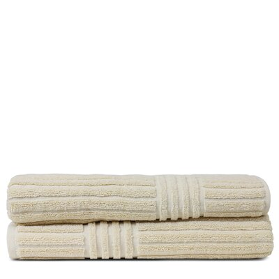 Wellston 100% Pure Turkish Cotton Ribbed Channel Pattern Bath Towel Color: Beige