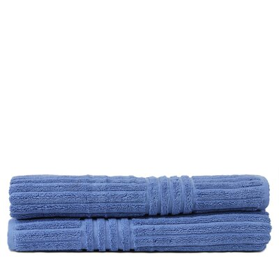 Wellston 100% Pure Turkish Cotton Ribbed Channel Pattern Bath Towel Color: Wedgewood