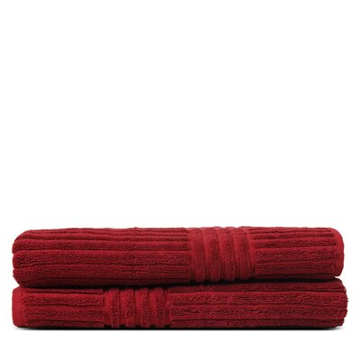 Wellston 100% Pure Turkish Cotton Ribbed Channel Pattern Bath Towel Color: Cranberry