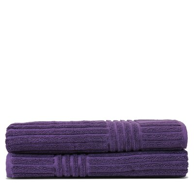 Wellston 100% Pure Turkish Cotton Ribbed Channel Pattern Bath Towel Color: Plum