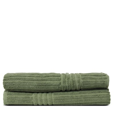 Wellston 100% Pure Turkish Cotton Ribbed Channel Pattern Bath Towel Color: Moss