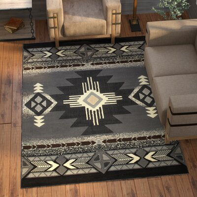 Iberide High-Quality Native Double Shot Drop-Stitch Carving Gray Area Rug Rug Size: 52 x 7 2