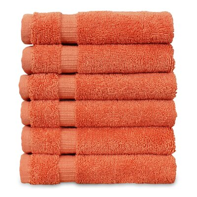 Wellston Turkish Cotton Dobby Border Washcloth Color: Coral