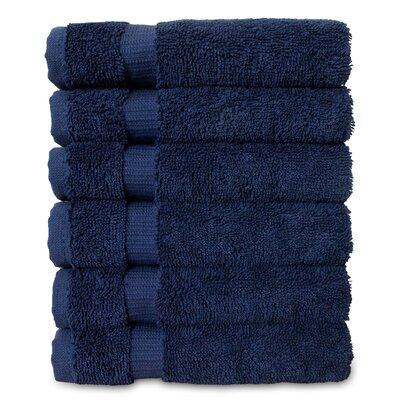 Wellston Turkish Cotton Dobby Border Washcloth Color: Navy