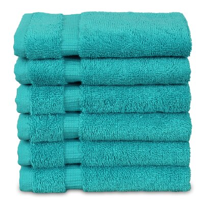 Wellston Turkish Cotton Dobby Border Washcloth Color: Aqua Blue