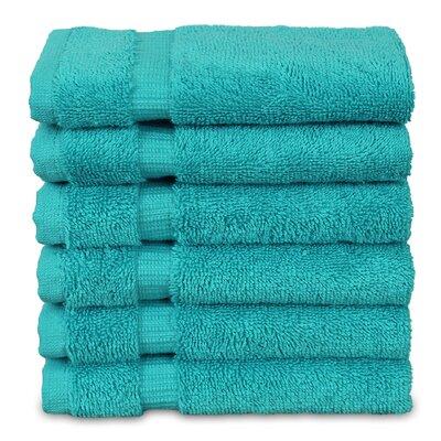Wellston Turkish Cotton Dobby Border Washcloth Color: Aqua Blue