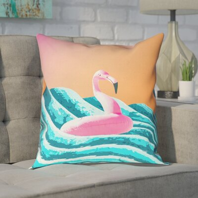 Enciso Sun and Surf Flamingo Float Square Pillow Size: 16 x 16, Type: Throw Pillow