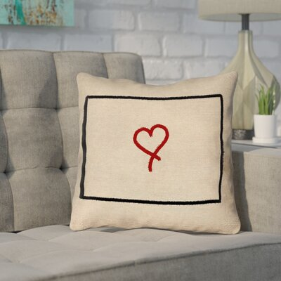 Sherilyn Wyoming Love Outline Outdoor Throw Pillow Size: 16 x 16