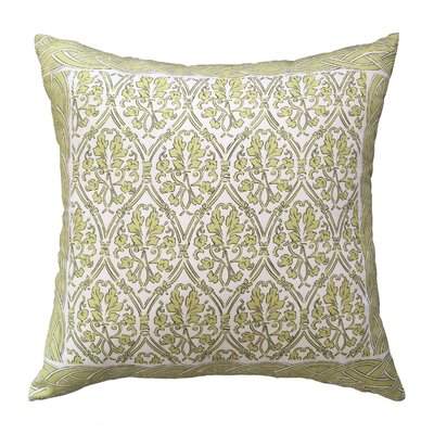 Crampton Bordered Throw Pillow Color: Green