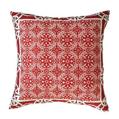 Cousar Bordered Throw Pillow Color: Cherry