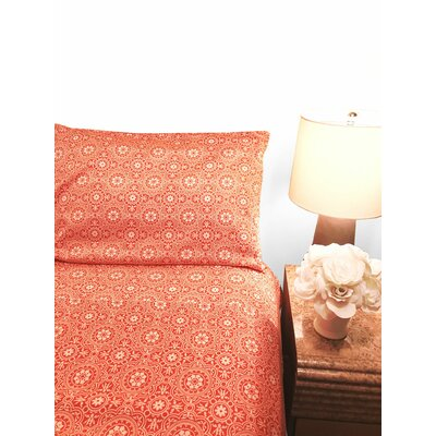 Credle 300 Thread Count Sheet Set Color: Coral, Size: California King