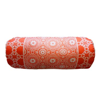 Coulter Bordered Neck Roll Throw Pillow Color: Coral