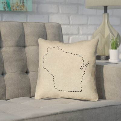 Sherilyn Wisconsin Dash Outline Size: 14 x 14, Type: Throw Pillow