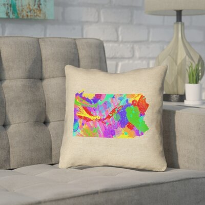Sherilyn Pennsylvania Throw Pillow Size: 16 x 16, Material: Spun Polyester, Color: Green/Blue