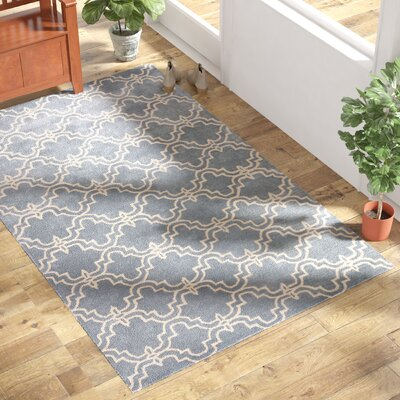 Lamontagne Trellis Wool Hand-Tufted Blue Area Rug Rug Size: Rectangle 9 x 12