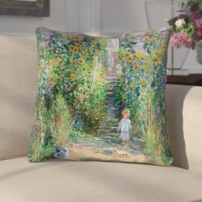 Ghislaine Flower Garden Cotton Throw Pillow Size: 14 x 14