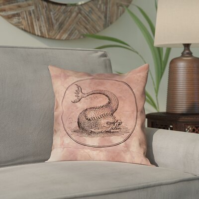 Carpenter Vintage Sea Monster Indoor/Outdoor Throw Pillow Color: Red, Size: 18 x 18