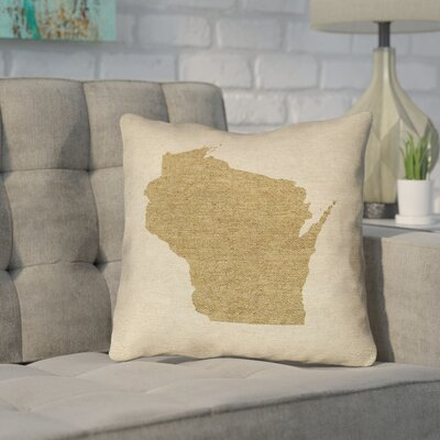 Sherilyn Wisconsin 16 x 16 Indoor/Outdoor Pillows No UV Properties - Waterproof and Mildew Proof Color: Brown, Size: 16 x 16