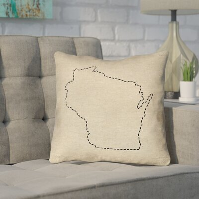 Sherilyn Wisconsin Dash Outline Outdoor Throw Pillow Size: 16 x 16