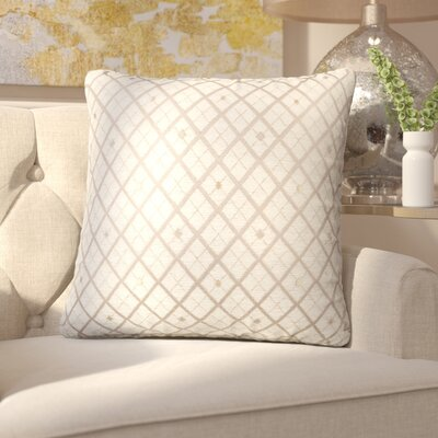Clairsville Diamond Gold Line Throw Pillow Color: Blush