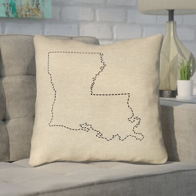 Austrinus Louisiana Dash Outline Throw Pillow Size: 18 x 18