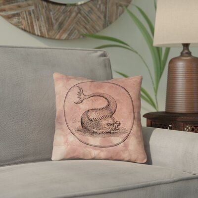 Carpenter Vintage Sea Monster Throw Pillow Size: 14 x 14, Color: Red