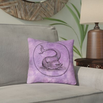 Carpenter Purple Vintage Sea Monster Double Sided Print Throw Pillow