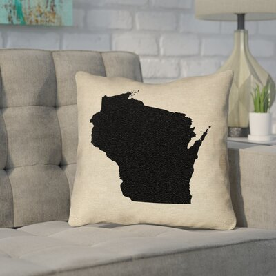 Sherilyn Wisconsin 16 x 16 Indoor/Outdoor Pillows No UV Properties - Waterproof and Mildew Proof Color: Black, Size: 16 x 16