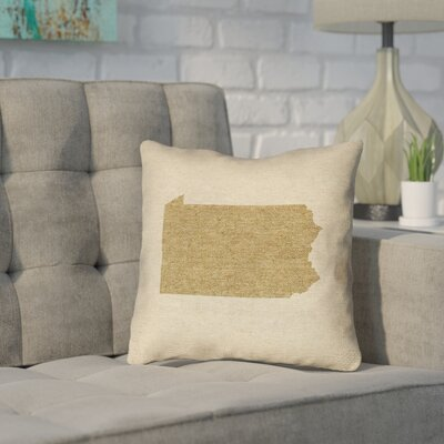 Sherilyn Pennsylvania Throw Pillow Size: 14 x 14, Material: Spun Polyester, Color: Brown
